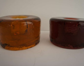 Blenko Glass Candle Holders #990a Brown and Amber Mid Century Modern 1960s