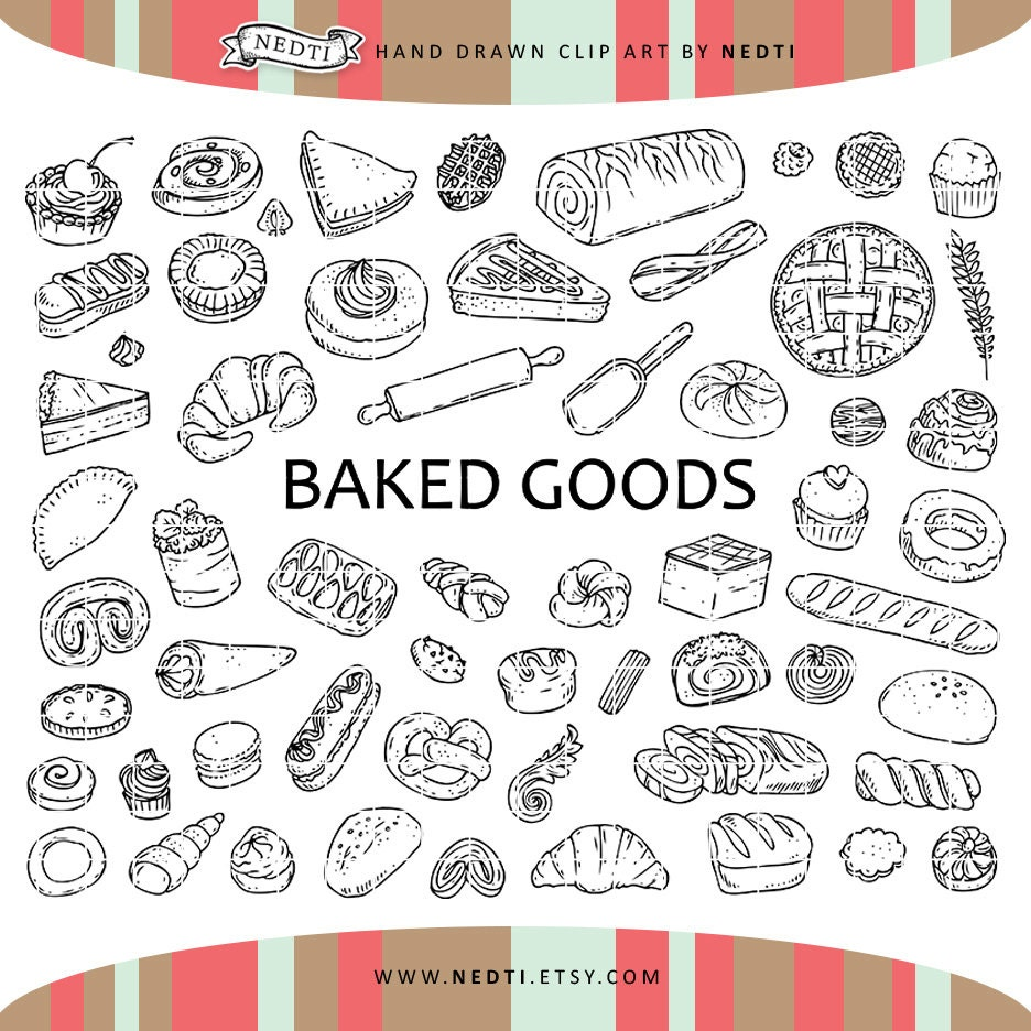 60 pastry doodle clipart elements baked goods clip art Bakery Coloring Pages  Baked Goods Coloring Pages