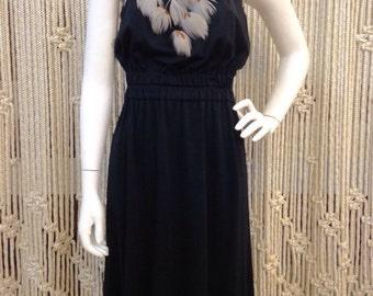 Amazing 1970's Joy Stevens black feather detail disco dress