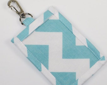 Lanyard ID Holder, Colorful Chevron  Cotton Clip On ID Holder with Hidden Cash Stash and Optional Lanyard