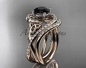 14kt rose gold diamond celtic trinity knot wedding ring, engagement set with a Black Diamond center stone CT7320S