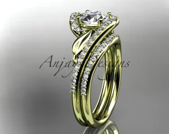 14k yellow gold diamond leaf and vine wedding ring, engagement set ADLR317S