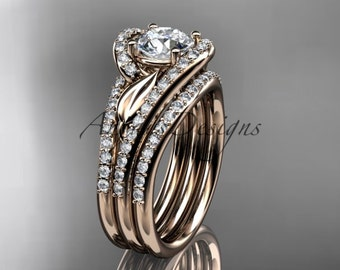"14k rose gold diamond leaf wedding ring with a ""Forever One"" Moissanite center stone and double matching band ADLR317S"