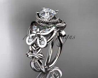 "14kt white gold diamond floral, butterfly wedding ring, engagement ring with a ""Forever One"" Moissanite center stone ADLR136"