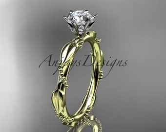 14k  yellow gold diamond vine and leaf wedding ring,engagement ring ADLR178