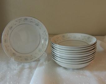 TEN (10) Floral Dessert Bowls 1960s English Garden Fine China of Japan Romantic Table Blue Pink Gray Platinum Wedding Table Luncheon Sauce