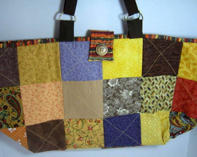 Patchwork Yarn Organizer Knitting Crochet  Quilted Project Craft Tote