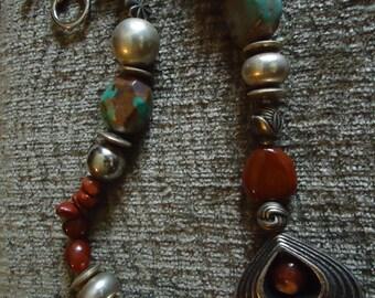 Boho Silver Heart In Southwestern Texas Style Necklace