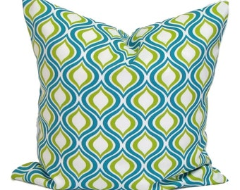 OUTDOOR PILLOW.16x16 inch.Decorative Pillow Covers.Turquoise Pillow Cover.Housewares.Outdoor Decor.Home Decor.Indoor. Outdoor.Ogee.Green