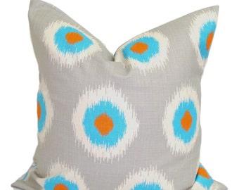 Gray Blue Pillows, Decorative Pillows, ALL SIZES, Gray Pillow Covers,  Home Decor, Gray Cushion, Orange Throw Pillow, Gray Euro Pillow