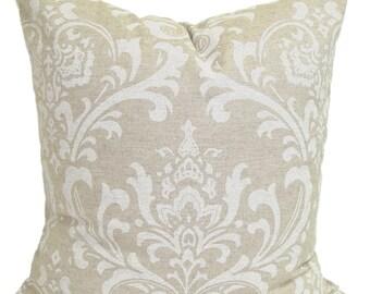 "PILLOWS, Tan Pillow Cover for 20"" Pillows, Decorative Pillow, Damask Throw Pillow, Neutral Pillow, Accent Pillow, Neutral Pillow, Cushion"