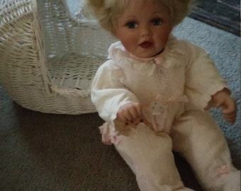 Adorable Vintage Porcelain Baby Doll With Bonus Chippy White wicker cradle
