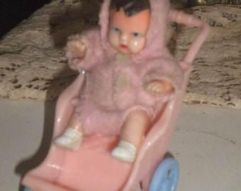 RARE Vintage Miniature Rubber Hand painted Doll with Stroller, Doll Collector, Doll House