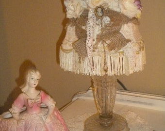 Beautiful Vintage Boudoir Lamp with ooak Lamp shade, French, French Country,Eclectic,Shabby Chic