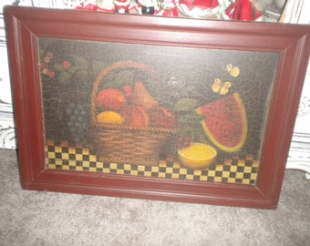 Lovely Framed Still Life, Primitive, Eclectic, Kitchen wall Decor, Dining Room Wall Decor