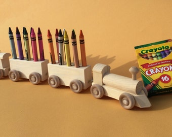 Crayon Train, Sixteen Count.  Wooden Toy Train. Crayon Holder.