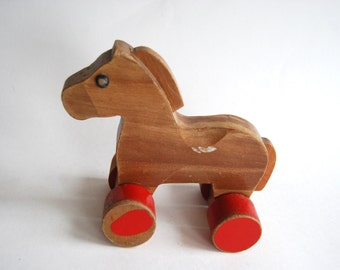 Vintage Wooden Horse, Rolling Toy