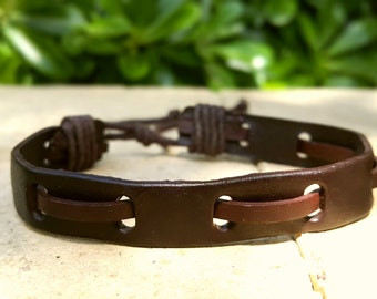 Mens Leather Bracelet, Brown Leather,  Brown Braid, Leather Bracelet Stylish.