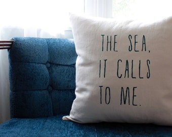 sea pillow cover | nautical pillows | beach cottage | blue and natural