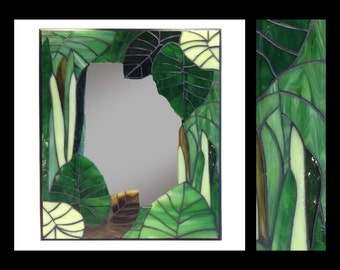 "Just Greens -  Stained Glass Mosaic Mirror (12""x14"")"