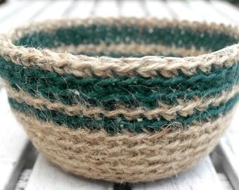 SALE Crocheted Jute Bowl, Plant Pot Holder, Hostess Gift, Crochet Storage Basket, Natural Jute Basket, Jute Twine Bowl