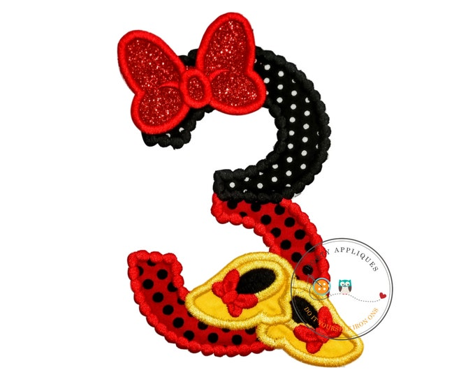 Red and black birthday number 3 with glitter bow iron on embroidered applique, 3rd birthday patch for girl, Minnie inspired iron on applique