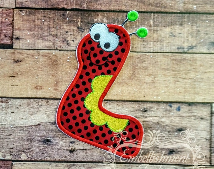 Monster letter L applique, initial embroidered patch, iron on applique letter for kids, iron on letter embellishment, iron on monogram patch