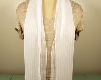 White Long Sheer Scarf - Vintage Vertical Semi Opaque