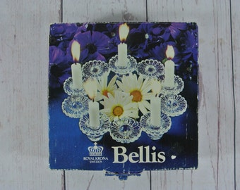 Vintage Royal Krona Sweden Bellis Flower Glass Candle Holder in Original Box with Candles Mid Century
