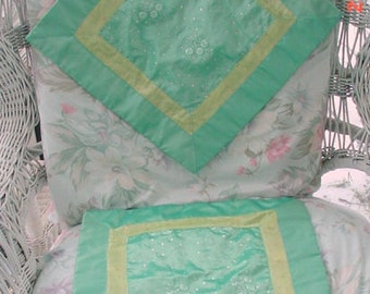 Aqua Pillow Covers Satiny Sequined French Country Shabby Chic