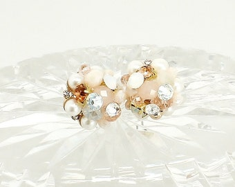 Rose Gold Bridal Studs- Art Deco Bridal Studs- Bridal Cluster Earrings- Rhinestone Studs- Rose Gold Wedding Earrings- Vintage Inspired Studs