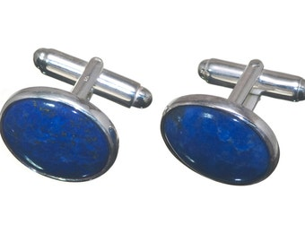 Mini Lapis Cuff Links Hand Crafted Regnas Genuine Gemstone Sterling Silver 925