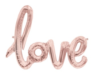 "Love script Rose Gold Mylar Foil Balloons - 40"" Long - Wedding - Bridal Shower - Bachelorette Party"