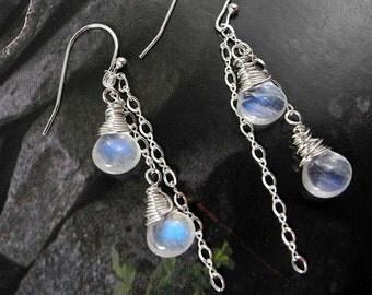 Chandelier Rainbow Moonstone Earrings, Long Dangle Earrings, Bridesmaid, Blue Flash Briolettes, Mystical Moon Design, Wedding Earring