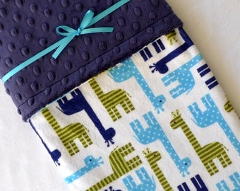 Boy Baby Blanket - Minky Baby Blanket - Giraffe Baby Blanket - Navy Blue - Jade Green - Navy Blue Baby Blanket for Your Baby Boy