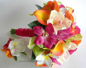 Vibrant Hot Pink, Fuchsia, Lime and Orange Real Touch Beach Bridal Bouquet