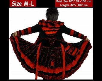 Elf coat, eLF sWEATER, size M, size L, fairy, dress, women hoodie, sweater coat, patchwork , Recycled dress, dream coat