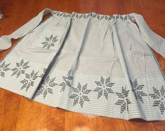 Vintage 1960's Gray Gingham kitchen Apron with Black Cross Stitch design by MarlenesAttic