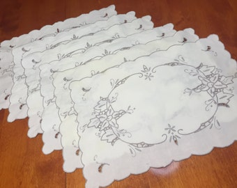 Set of 6 Vintage Ivory Floral  Embroidered placemats for home decor, housewares, dining, shabby chic by MarlenesAttic