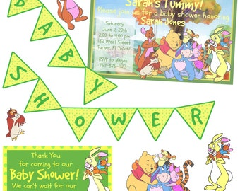 Winnie The Pooh Baby Shower Party Pack - Download - Includes Invitation - Thank You Card - Banner - Cut Outs