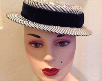 Vintage Sailor Hat with Navy Velvet Ribbon