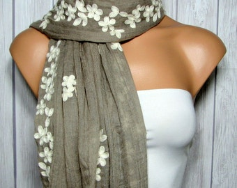 Bohemian Brown Rectangle or Infinity Scarf for Women Cream Floral, Women's Viscose Flower Fabric Scarves or Table Runner