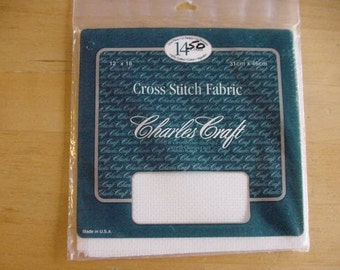 1 Package Charles Craft 14 Count Aida Cloth, 12 x 18, Ecru, Counted Cross Stitch Fabric