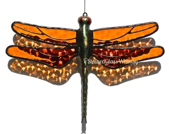 Stained Glass DRAGONFLY Suncatcher , Jewel-Toned Root Beer Wings , Cobblestone texture , USA Handmade, Deep Amber Dragonfly, Amber Firefly