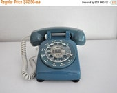 ON SALE Vintage Teal Blue Rotary Phone Working Telephone ATT