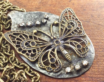 Butterfly Spoon Necklace with Rhinestones on Brass Textured Chain, One of a Kind Necklace by Kyleemae Designs