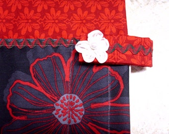 Bible study book cover, padded,  protective, case, holder, purse, handmade, fabric, cloth, red black flower, floral, modern