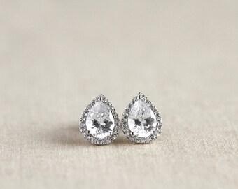Bridal Earrings - Bridesmaid Earrings - Cubic Zirconia Crystal - Teardrop Stud Earrings - Wedding Jewelry