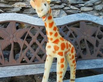 "Large Steiff Vintage Antique Giraffe IDs #6350,0 or #6350,00 Ex COND.  1954-64 Handmade  19"" Tall German Toy"