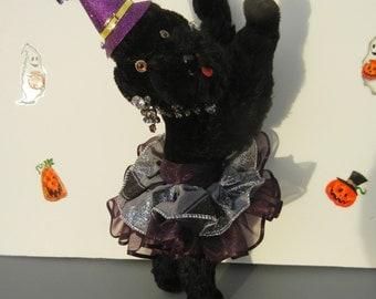 "Steiff French Poodle Halloween Dog "" Snobby "" German Doll Vintage Earrings  Shabby Chic Decor Artist One of a Kind  Handmade"